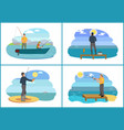 fishing on lake in boat set vector image vector image