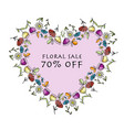 floral heart shape banner for your design vector image vector image