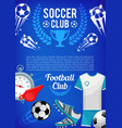 football sport club banner with soccer ball items vector image vector image
