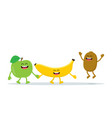 funny fruits characters apple banana and kiwi vector image vector image