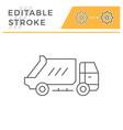 garbage truck line icon vector image vector image