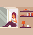 girl reading book on the windowsill vector image