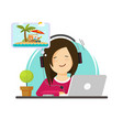 girl working on computer and dreaming resort vector image vector image