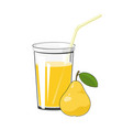 glass with pear juice vector image