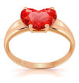 Golden Ring with Ruby vector image