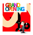 Grand Opening Retro with Business Man on Red vector image vector image