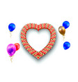 heart frame and balloons on white vector image vector image