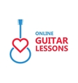 Heart guitar logo or icon vector image vector image