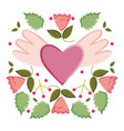 heart love with wings pop art style vector image vector image