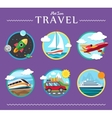 Icons set of traveling planning a summer vacation vector image