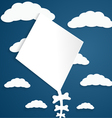 Kite on a blue background with clouds vector image vector image