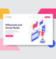 landing page template millennials and social vector image vector image