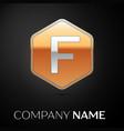 letter f logo symbol in the golden hexagonal vector image