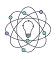 light bulb and atom around icon in color section vector image