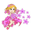 Little girl with pink flowers vector image