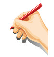 male hand hold a pencil isolated on white vector image vector image