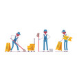 male janitor mopping the floor vector image