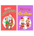 merry christmas santa claus and helper in costume vector image vector image