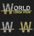 Metallic business font design - letter W vector image vector image
