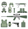 military weapon guns symbols armor set forces vector image vector image
