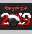 new year numbers 2019 and hockey puck vector image vector image