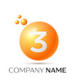 number three splash logo orange dots and bubbles vector image vector image