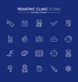outline icons set pediatric hospital clinic and vector image