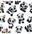 panda seamless pattern cute little bamboo bears vector image