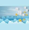paper art of balloon with currency exchange money vector image vector image