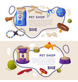 pet shop landing page templates set cat and dog vector image