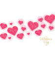pink glitter hearts valentine day banner vector image vector image