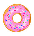 pink icing donut sweet confectionery for vector image
