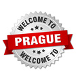 Prague 3d silver badge with red ribbon vector image vector image