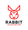 rabbit head inspiration logo outline vector image vector image