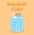 rainbow birthday cake with chocolate glaze star vector image vector image
