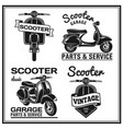 set of classic scooter emblems icons and badges vector image vector image