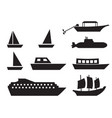 ship and boat icons in simple style vector image
