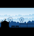 silhouette carnival funfair with amusement scenery vector image vector image