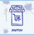 sketch line mobile phone and shopping cart with vector image vector image