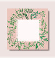 square frame with laurel leafs vector image vector image
