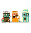 street food icons flat set vector image