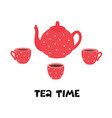 tea time teapot and cups vector image