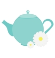 Teapot with chamomile flowers herbals Blue Tea vector image vector image