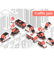 traffic jam isometric composition vector image vector image