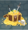 Treasure Chest With Golden Coins Skull and Swords vector image vector image