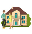 young couple outside of their new home vector image vector image