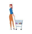 young woman standing with shopping cart girl in vector image