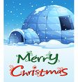 A christmas template with an igloo vector image vector image