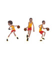 african american basketball player set athlete vector image