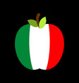 apple italy flag italian national fruit vector image vector image